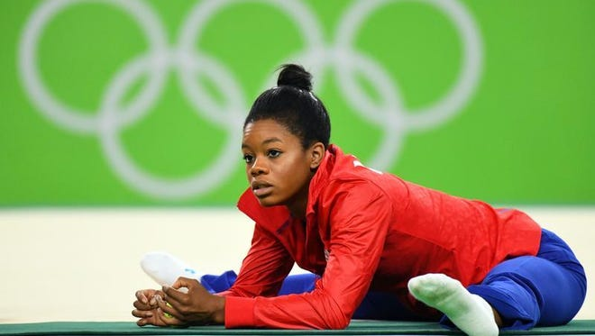 Gabby Douglas (USA) before the women's individual event finals in the Rio 2016 Summer Olympic Games at Rio Olympic Arena.