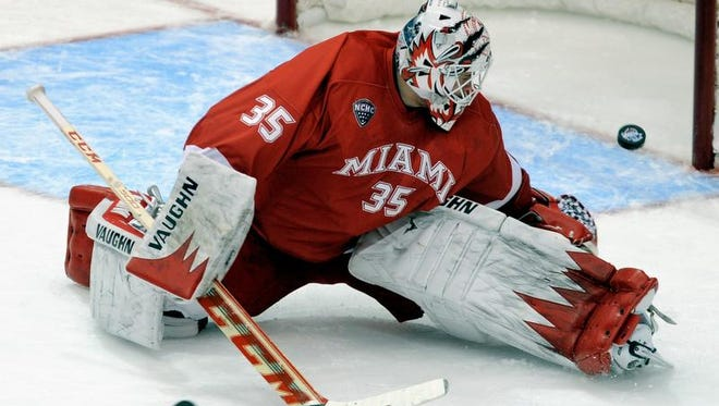 Miami goalie Ryan McKay watches a shot get past him in the first period.