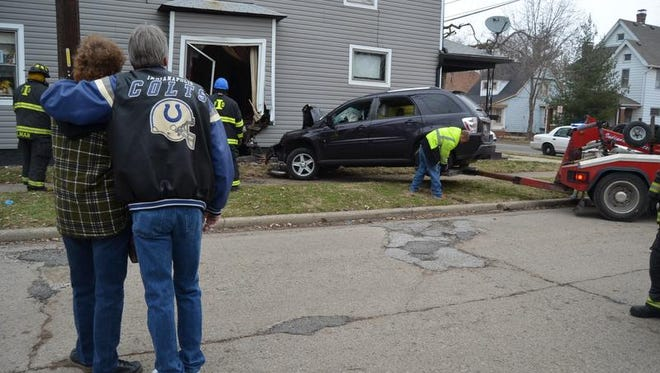 A driver who admitted she was going too fast shortly before 3:30 p.m. Dec. 29, 2013, crashed her Chevrolet Equinox LT into the home of Timothy and Leigh McCall. It's the 11th vehicle to crash into the house since they moved in 30 years ago, according to Indianapolis Fire Department.