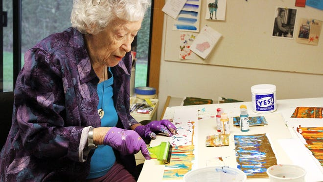Marge Moore, who has been an artist her whole life, is learning to adapt her painting technique to her deteriorating eyesight.  She has macular degeneration in one eye and glaucoma in the other, leaving her with peripheral vision in one eye and tunnel vision in the other. She has started doing acrylic abstract pieces since her eyesight has deteriorated.