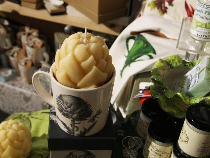 Beeswax artichoke candle at Gifts on the Go, Salinas
