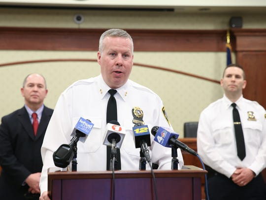 Tarrytown Police Chief John Barbelet speaks during