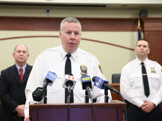 Tarrytown Police Chief John Barbelet speaks during a news conference at Village Hall in Tarrytown on Wednesday, Feb. 28, 2018, about the previous day's fatal shooting of Jessica Wiltse at Sleepy Hollow Gardens and arrest of Cynell Brown.