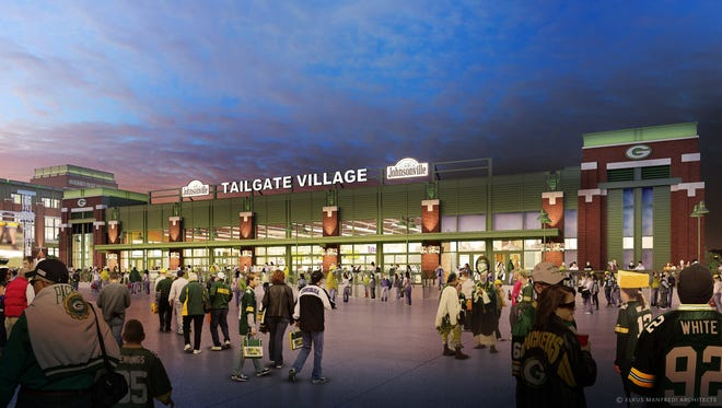 An artist's drawing of the Johnsonville Tailgate Village to be built at Lambeau Field.