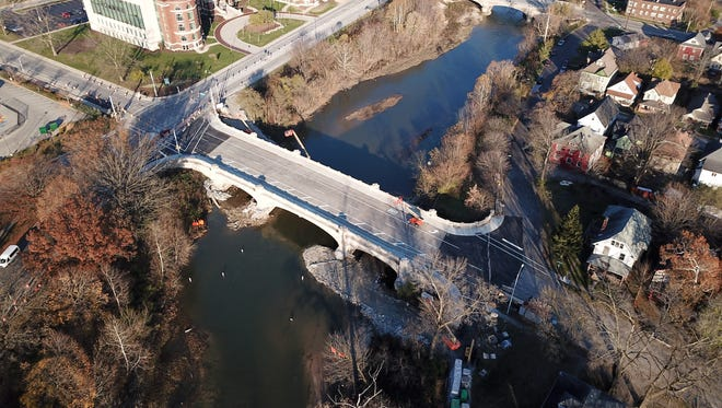A drone photo of the Capitol Avenue bridge over Fall Creek before it reopened to traffic Monday.