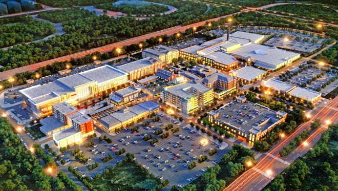 The $350 million Liberty Center development, seen in a rendering, is to include retailers, restaurants, a cinema, apartments, offices and a hotel on 64 acres in Butler County.