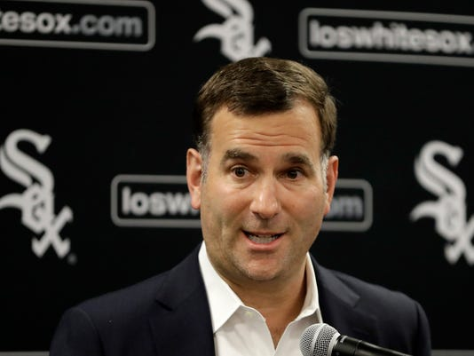 Chicago White Sox senior vice-president and general manager Rick Hahn responds to a question during the team's baseball convention Friday, Jan. 26, 2018, in Chicago. (AP Photo/Charles Rex Arbogast)