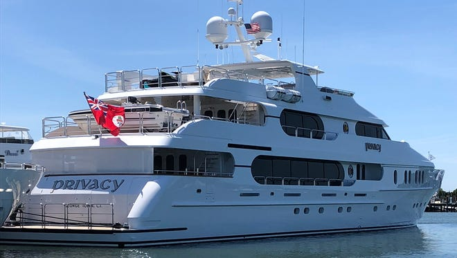 Privacy, a yacht owned by Tiger Woods, is docked in Sag Harbor, N.Y., for the U.S. Open at Shinnecock Hills Golf Club on June 12, 2018.