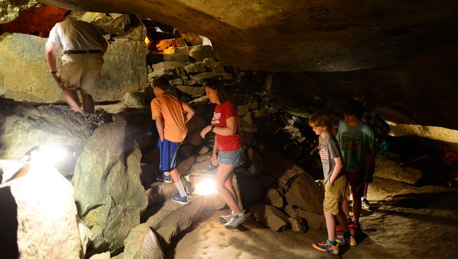 Cave explorers tour Seneca Caverns below Bellevue.