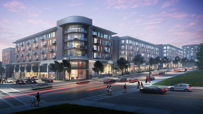The $78-million, mixed-used development includes 200 and 250 condos or apartments, 58,400 square feet of retail space in three buildings, 25,000 square feet of office or medical space and ample parking.