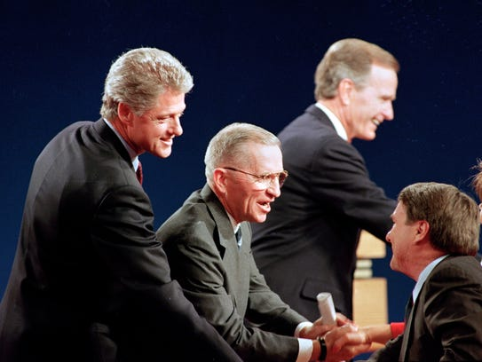 Arkansas Gov. Bill Clinton, Ross Perot and President