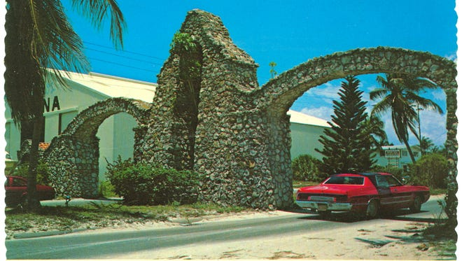"""The back of this postcard reads, """"The Arches are the gateway to fun, sun and excitement on the 7-mile-long Fort Myers Beach. The Arches were built in 1924."""" Vintage postcard couretsy of Woodward S. Hanson // The Arches, Ft.l Myers Beach, Fla. """"These beautiful Arches are the gateway to fun, sun and excitement on the 7 mile long Ft. Myers Beach. The Arches were built in 1924. Photo by Bruce Miley"""""""