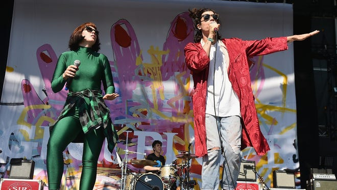 Hannah Hooper,  left, and Christian Zucconi will perform with Grouplove Oct. 25 at Old National Centre.