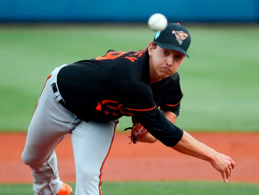 FILE - In this Feb. 27, 2018, file photo, Baltimore Orioles starting pitcher Hunter Harvey throws in the first inning of a spring training baseball game against the Tampa Bay Rays in Port Charlotte, Fla. The Orioles have recalled 2013 first-round pick Harvey from Double-A Bowie to bolster their weary bullpen. (AP Photo/John Minchillo, File)