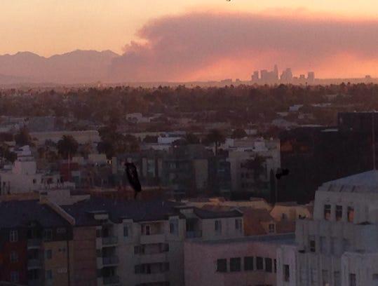 Glendora fire smoke as seen from Santa Monica, Calif.