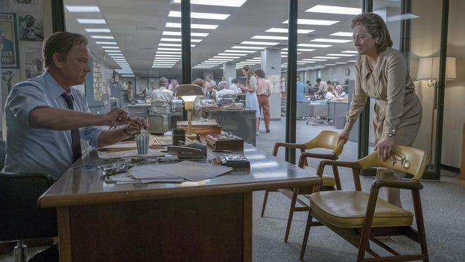 """""""The Post"""" has already earned buzz and accolades before opening in most cities (it opens widely Jan. 12). Both Tom Hanks (left) and Meryl Streep are nominated for their portrayals of Ben Bradlee and Kay Graham, respectively."""