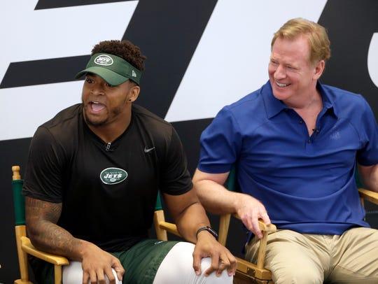 New York Jets' Jamal Adams, left, and NFL commissioner