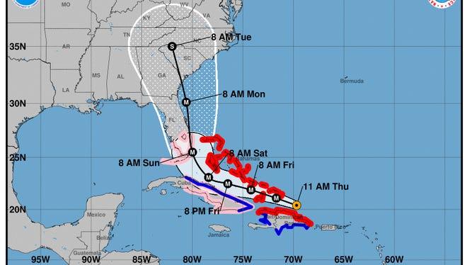 Hurricane Irma forecast track as of 11 a.m. September 9 , 2017