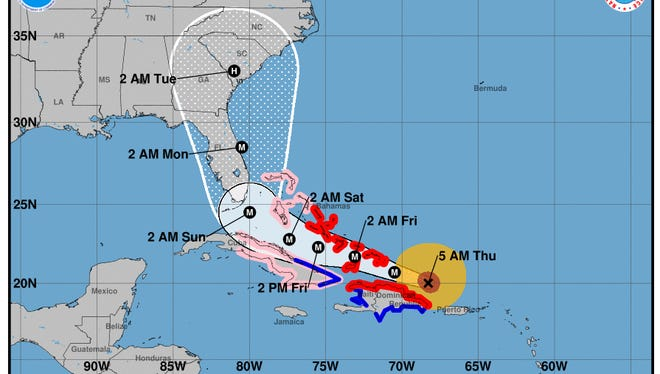 The forecast cone of Hurricane Irma for 5 a.m. Thursday, Sept. 7, 2017.