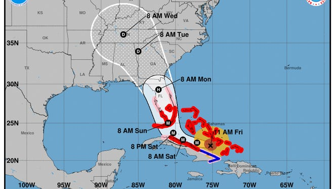 Forecast cone as of 11 a.m. Friday, Sept. 8, 2017 for Hurricane Irma.