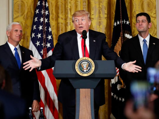 President Donald Trump, accompanied by Vice President Mike Pence, and House Speaker Paul Ryan of Wis., speaks in the East Room of the White House.  Trump is announcing the first U.S. assembly plant for electronics giant Foxconn Technology Group in Wisconsin.