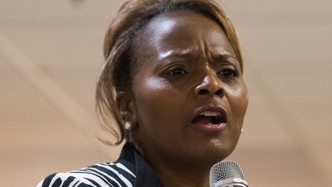 District Five candidate DeVona Sims speaks during the Montgomery Coiunty School Board of Education meet the candidates forum in Montgomery, Ala. on Tuesday May 1, 2018.