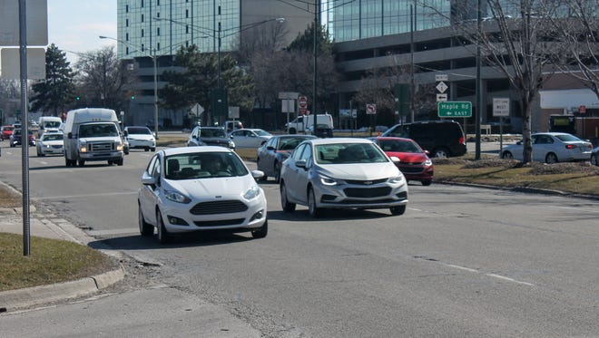 Traffic travels northbound on Woodward Avenue near Maple in Birmingham. Motorists can expect construction on the road between 14 Mile and Big Beaver beginning next month and running through August.