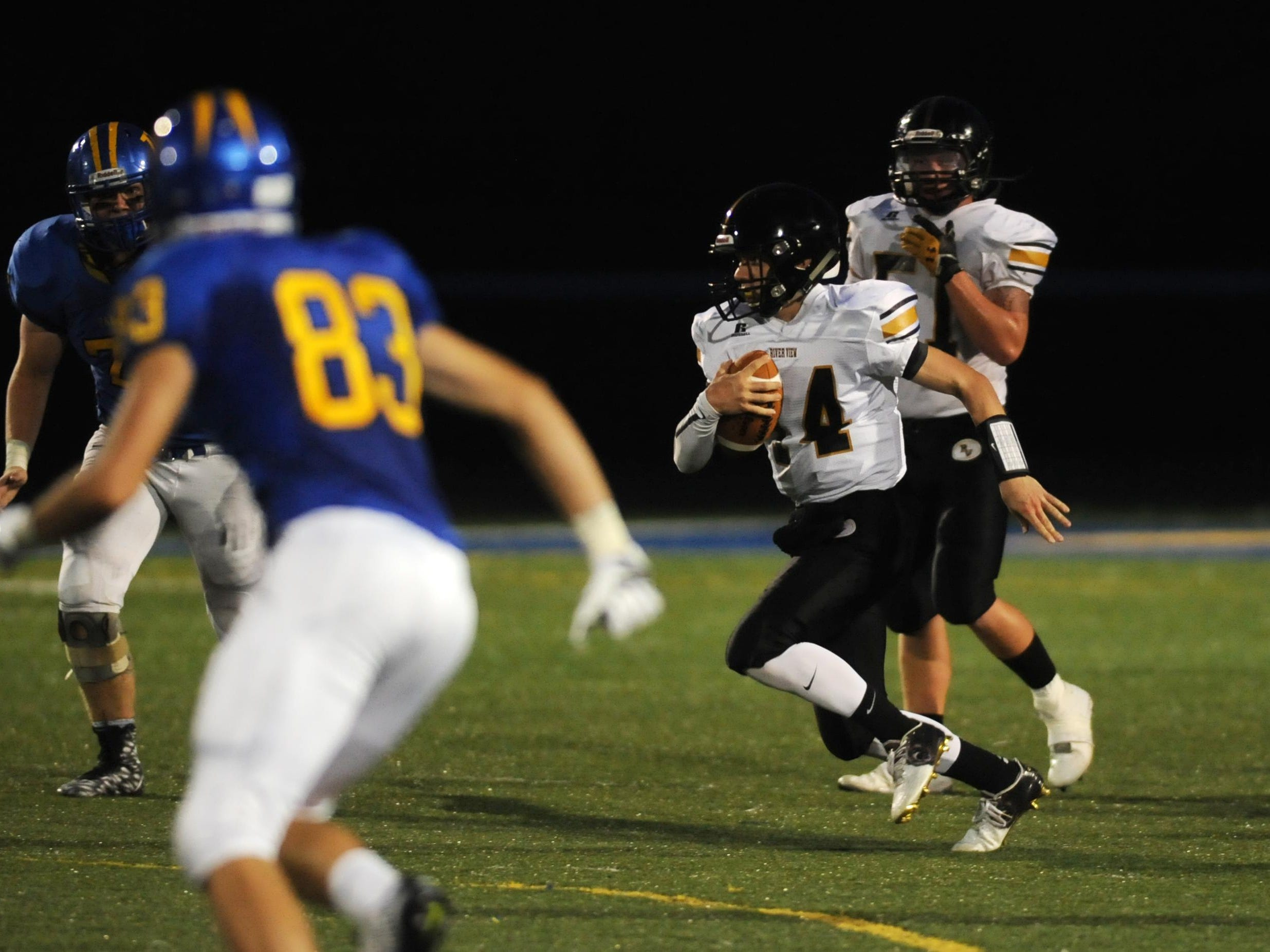 River View's Caden Croft carries the ball against Maysville Friday night.