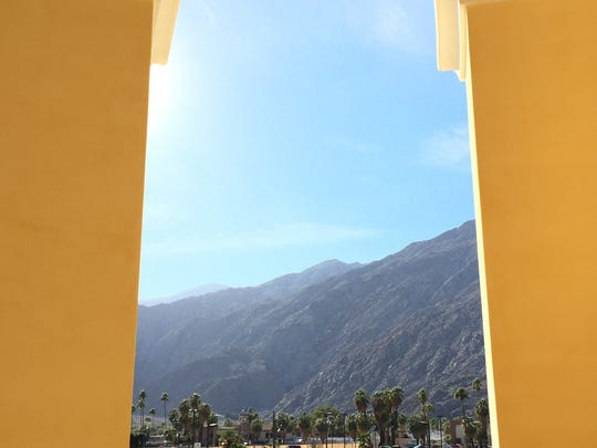 Looking through the renovated south rotunda entrance to the Spa Resort Casino in Palm Springs is a dramatic view of the San Jacinto Mountains.