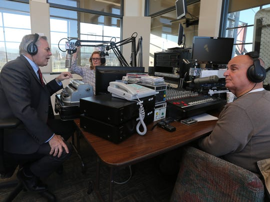 """Town of Ramapo Supervisor Christopher St. Lawrence during his weekly segment with Jordan Baker and Steve Possell, as they co-host the """"Morning Show with Steve and Jordan"""" on WRCR 1700 am radio from Palisades Credit Union Park in Pomona, Nov. 18, 2016."""