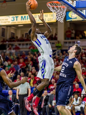 FGCU's Demetris Morant, who had a career-high 25 points and 17 rebounds in Satuday's home rout of Jacksonville, and the Eagles look to remain all alone atop the ASUN standings with a win against UNF on Monday night.