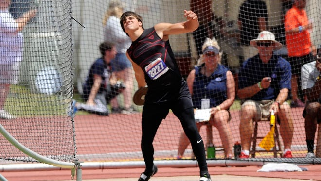 Strawn's Tanner Hodgkins prepares to throw during the Class 1A boys discus at the UIL State Track and Field Championships at the University of Texas' Mike A. Myers Stadium in Austin on Saturday. Twice during the event Hodgkins set 1A state records, winning with a throw of 171 feet, 11 inches.