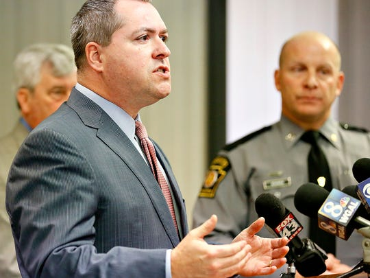 York County Chief Deputy Prosecutor Tim Barker speaks during a press conference regarding the arrest and  charges being filed against Howard Timothy Cofflin Jr., at the Pennsylvania State Police Department in Loganville, Pa. on Wednesday, Jan. 6, 2016. (Dawn J. Sagert - The York Dispatch)