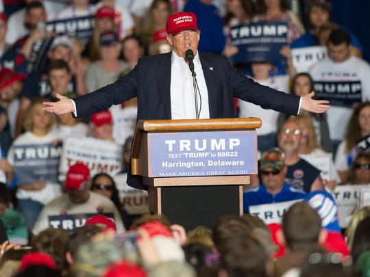 Donald Trump leads the election rally Friday at the Delaware State Fair in Harrington. Trump trails his Democratic opponent Hillary Clinton in a new poll of Delaware voters.