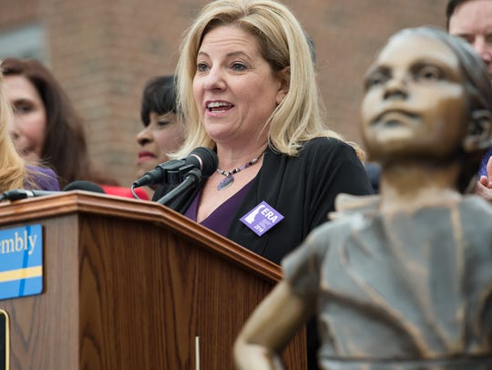 House Majority Leader Valerie Longhurst, D-Bear, speaks during a rally for the Delaware equal rights amendment on the steps of Legislative Hall in Dover.