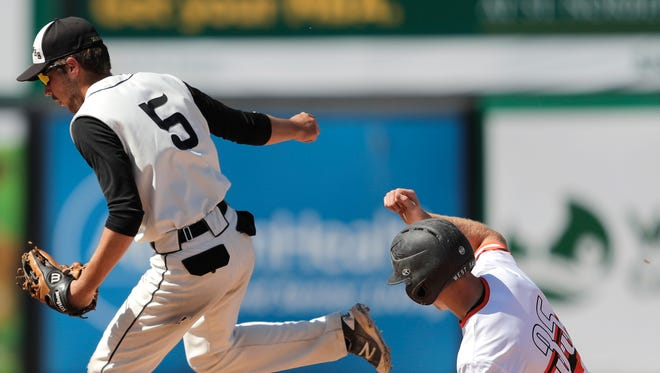 Waupun High School's #5 Jack Lenz gets the force out of West Salem High School's #35 Ryan Beirne during the 2017 WIAA Division 2 Spring Baseball Tournament championship baseball game on Thursday, June 15, 2017 at Neuroscience Group Field at Fox Cities Stadium in Grand Chute, Wis.