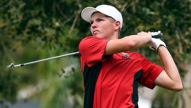 Port St. Lucie junior Fletcher Wunderlich tees off Wednesday, Sept. 27, 2017, during his team's boys high school golf match against Okeechobee and St. Lucie West Centennial at The Saints golf course. To see more photos, go to TCPalm.com.