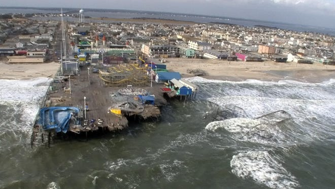 Casino Pier in Seaside Heights, as seen by helicopter after superstorm Sandy.
