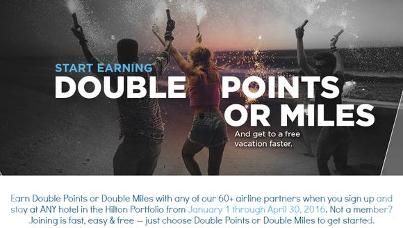 Hilton HHonors is doling out twice the points (or airline