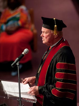 U of L President James Ramsey addresses the audience during the Simmons College graduation ceremonies. The school was lauding Ramsey with an honorary Doctor of Humanities degree. 15 May, 2016