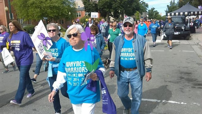 Members of the Wayne's Warrior team participate in the 2018 Monroe Walk to End Alzheimer's. The 2018 event had a record-breaking 300 walkers and raised $46,000 in pledges. The 2019 walk raised $52,000. This year's walk is Saturday.