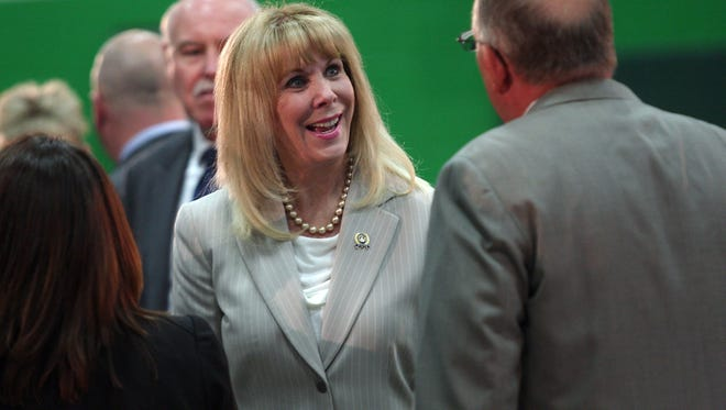 Assemblywoman BettyLou DeCroce at the Sussex County Technical School to hear Gov. Chris Christie during his 137th New Jersey town hall meeting. May 14, 2015. Sparta, N.J. Bob Karp/Staff Photographer.