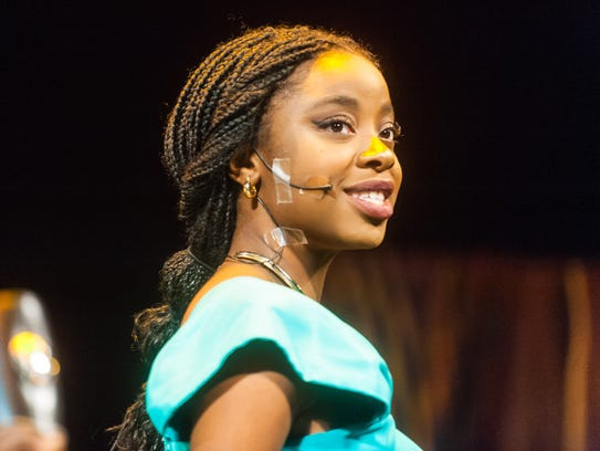 Jasmine, played by Tofunmi Ayeni, performs during a