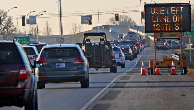 Traffic continues south on Ind. 37 south of 131st Street in Fishers.