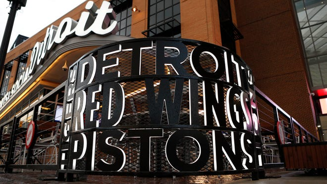 A view of the decorative fence of a restaurant outside the southeast entrance at Little Caesars Arena before the game between the Red Wings and the Maple Leafs on Friday, Sept. 29, 2017, at Little Caesars Arena.