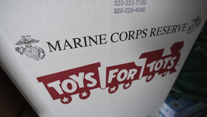 Boxes filed with toys are collected each year for distribution to local families through the Marine Corps Reserve Toys for Tots program.