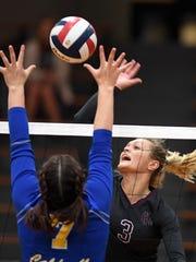 Henderson's Hannah Watkins (3) battles at the net against