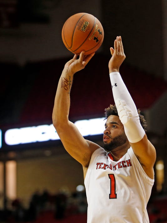 Texas Tech's Brandone Francis (1) shoots the ball during an NCAA college basketball game against Kennesaw State, Wednesday, Dec. 13, 2017, in Lubbock, Texas. (AP Photo/Brad Tollefson)