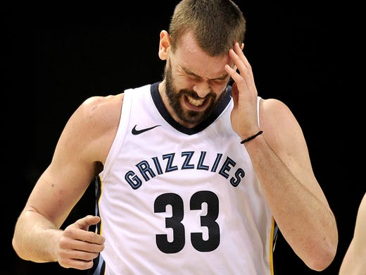 Memphis Grizzlies center Marc Gasol reacts during the second half of the team's NBA basketball game against the San Antonio Spurs on Wednesday, Jan. 24, 2018, in Memphis, Tenn. (AP Photo/Brandon Dill)