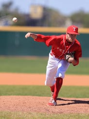 Ray pitcher Nick Loftin pitches in the game against